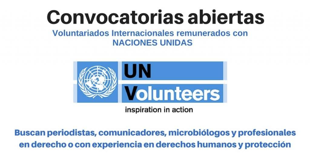 Voluntariados Naciones Unidas en diferentes paises